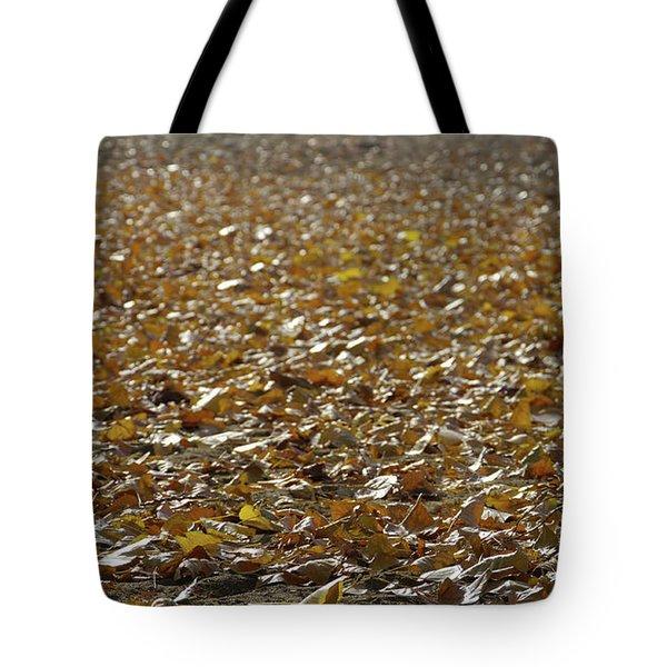 Beach Of Autumn Leaves Tote Bag