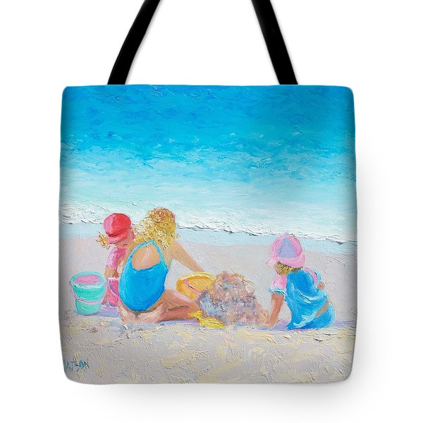 Beach Painting - Building Sandcastles Tote Bag