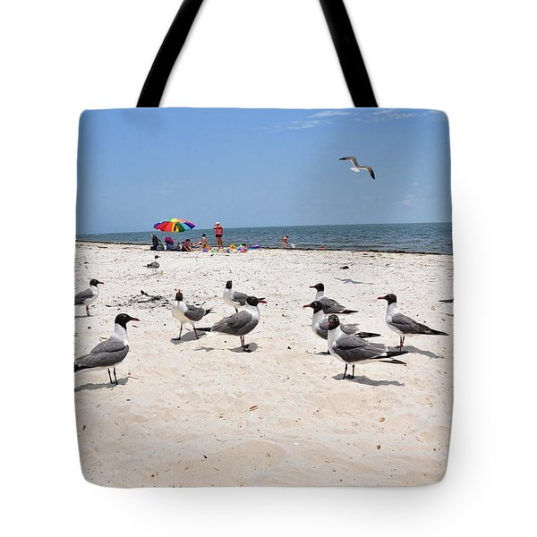 Tote Bag featuring the photograph Beach Party by Jan Amiss Photography