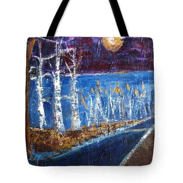 Beach Path At Night Tote Bag