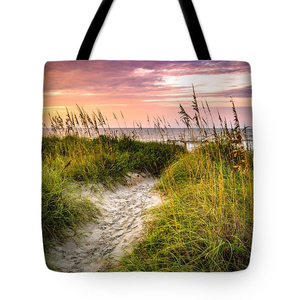 Beach Path Sunrise Tote Bag