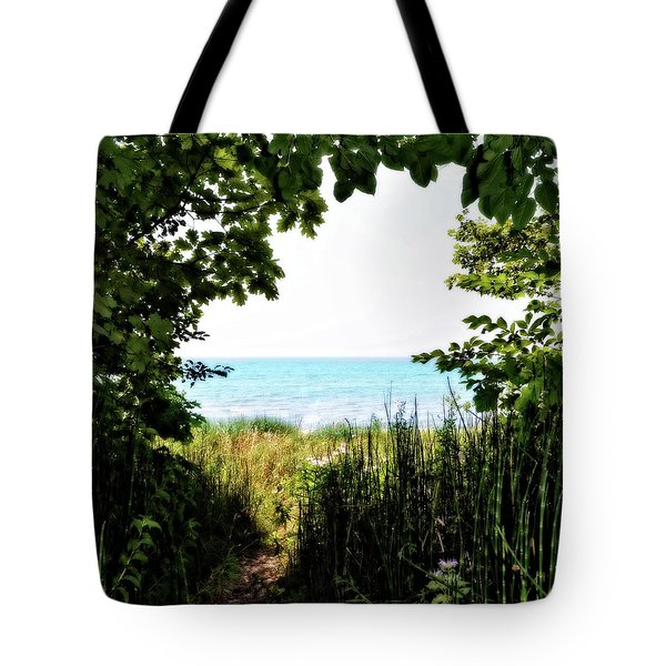 Tote Bag featuring the photograph Beach Path With Snake Grass by Michelle Calkins