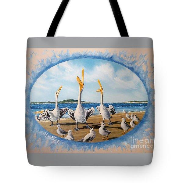 Flying Lamb Productions            Pelicans   Beach Platoon Tote Bag