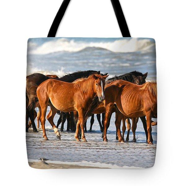 Beach Ponies Tote Bag