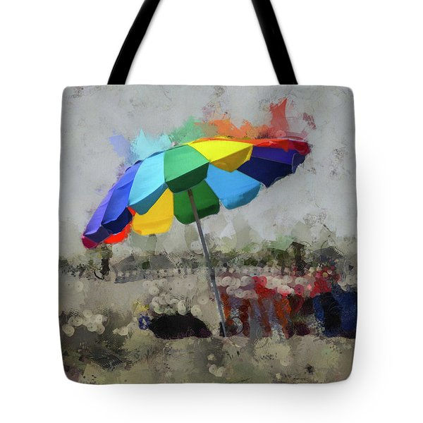 Tote Bag featuring the mixed media Beach Ready by Trish Tritz