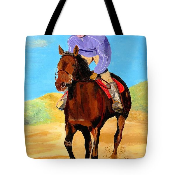 Tote Bag featuring the painting Beach Rider by Rodney Campbell