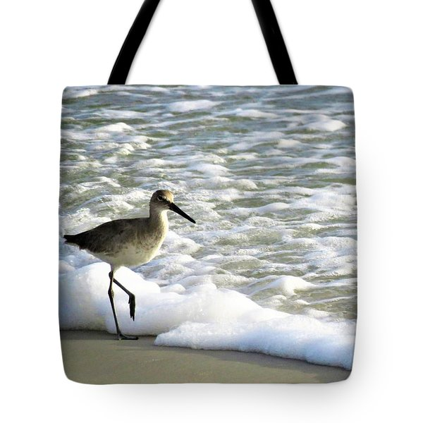 Beach Sandpiper Tote Bag by Kathy Long