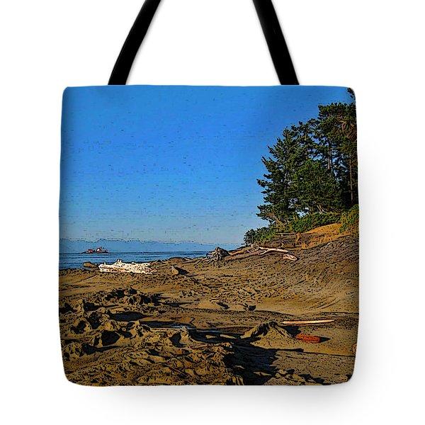 Beach Scene, Berry Point, Gabriola, Bc Tote Bag by Anne Havard