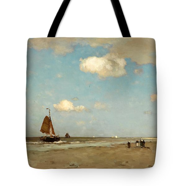 Tote Bag featuring the painting Beach Scene by Jan Hendrik Weissenbruch