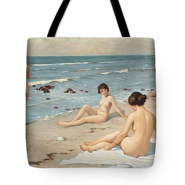 Beach Scenery With Bathing Women Tote Bag