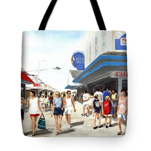 Beach/shore I Boardwalk Ocean City Md - Original Fine Art Painting Tote Bag