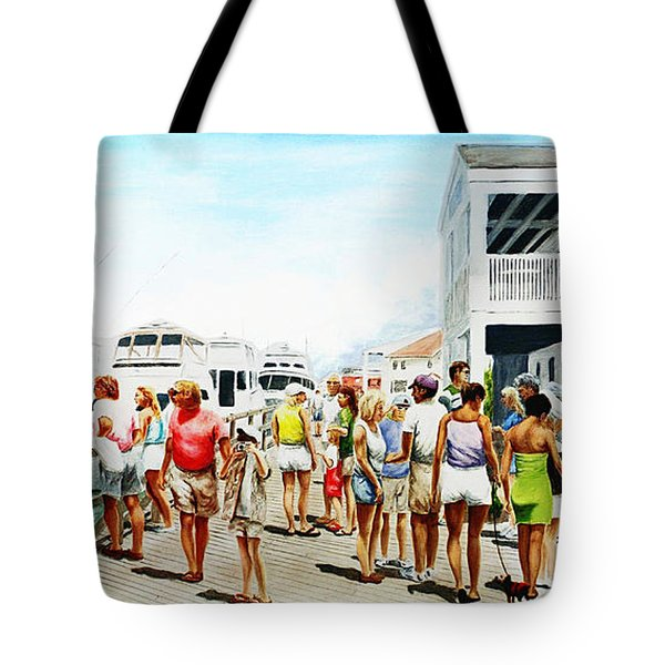 Beach/shore II Boardwalk Beaufort Dock - Original Fine Art Painting Tote Bag