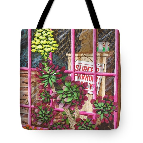 Tote Bag featuring the painting Beach Side Storefront Window by Katherine Young-Beck
