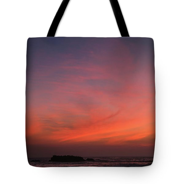 Tote Bag featuring the photograph Beach Sky Blaze by T A Davies