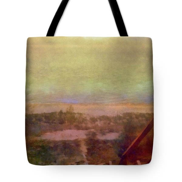 Tote Bag featuring the digital art Beach Stairs With Hazy Sky by Michelle Calkins