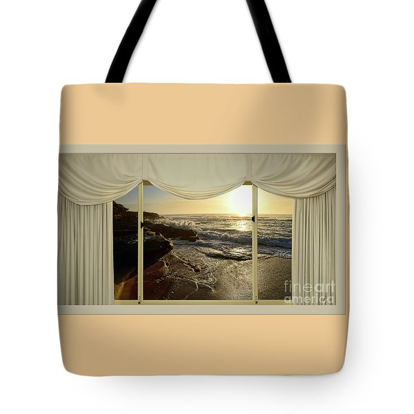 Beach Sunrise From Your Home Or Office By Kaye Menner Tote Bag by Kaye Menner