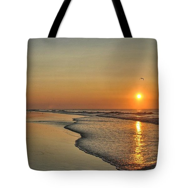 Topsail Nc Beach Sunrise Tote Bag