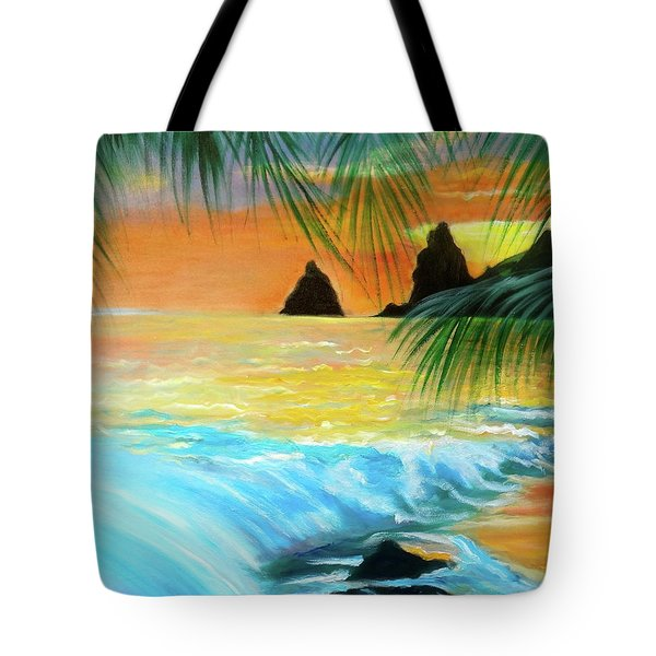 Beach Sunset Tote Bag by Jenny Lee