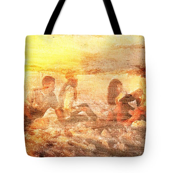 Beach Sunset With Friends Tote Bag