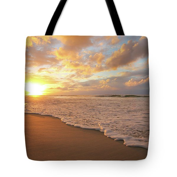 Beach Sunset With Golden Clouds Tote Bag
