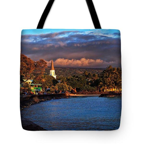 Beach Town Of Kailua-kona On The Big Island Of Hawaii Tote Bag by Sam Antonio Photography