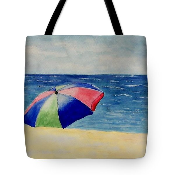 Tote Bag featuring the painting Beach Umbrella by Jamie Frier