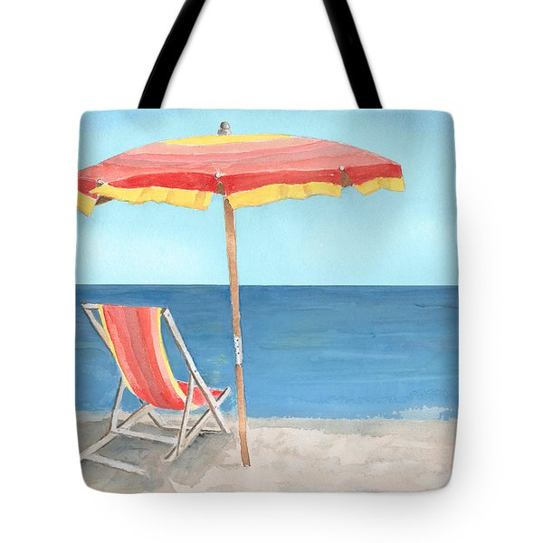 Beach Umbrella Of Stripes Tote Bag by Arline Wagner