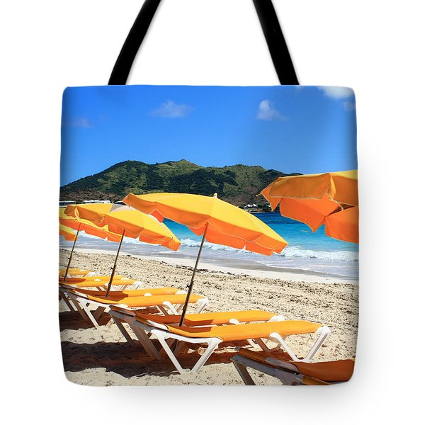 Beach Umbrellas Tote Bag by Catie Canetti
