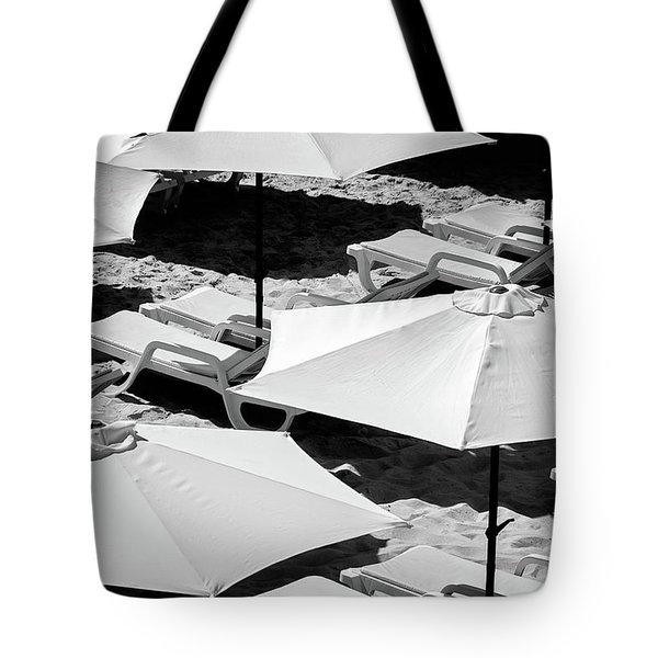 Tote Bag featuring the photograph Beach Umbrellas by Marion McCristall