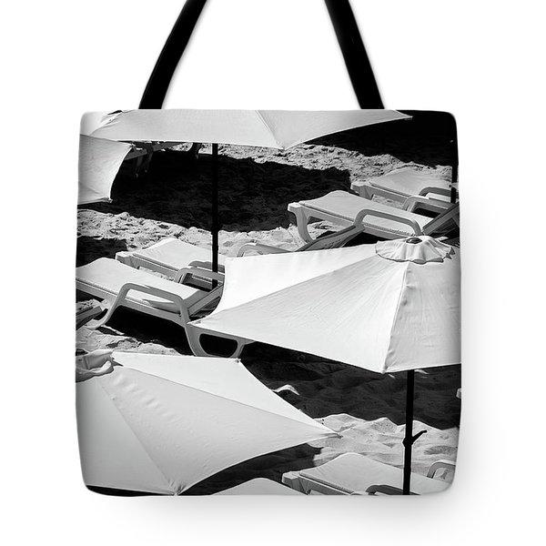 Beach Umbrellas Tote Bag by Marion McCristall