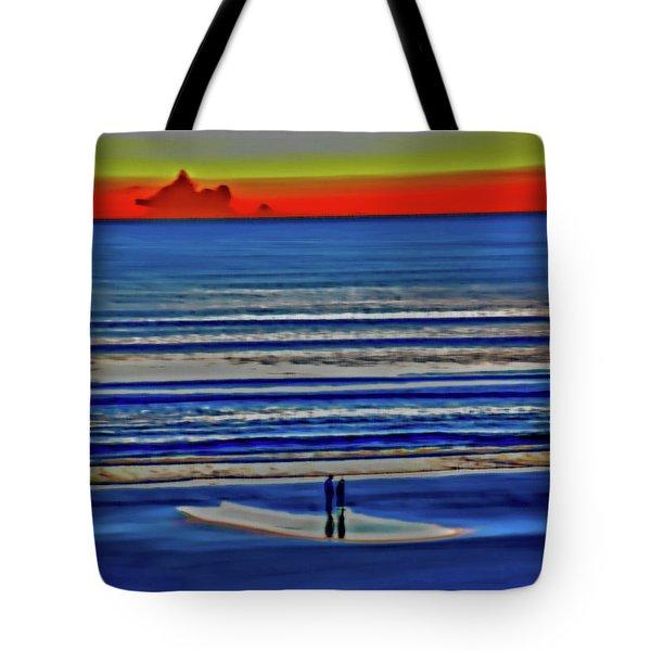 Beach Walking At Sunrise Tote Bag