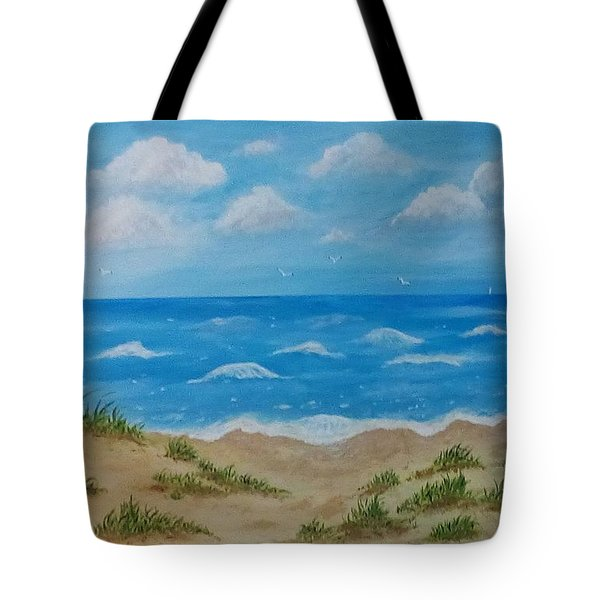 Tote Bag featuring the painting Beach Waves by Sonya Nancy Capling-Bacle