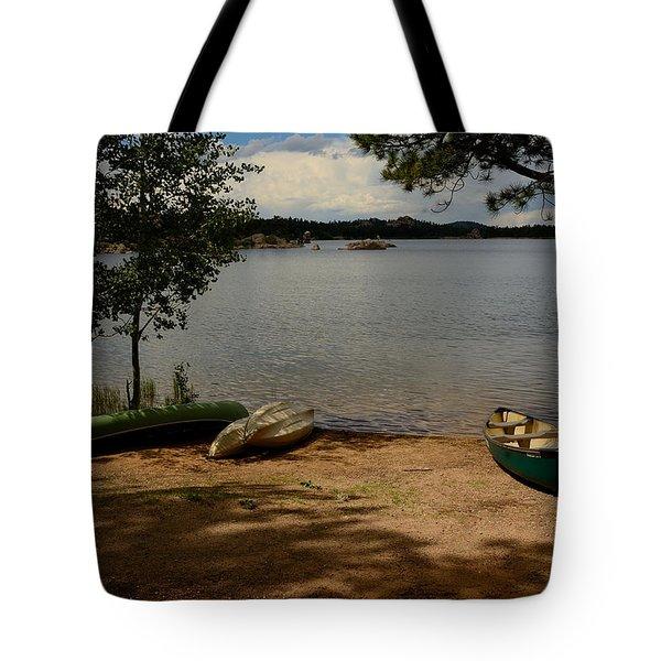 Beached Canoe Tote Bag