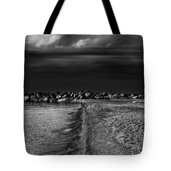 Tote Bag featuring the photograph Beaches Park Toronto Canada Breakwall No 1 by Brian Carson