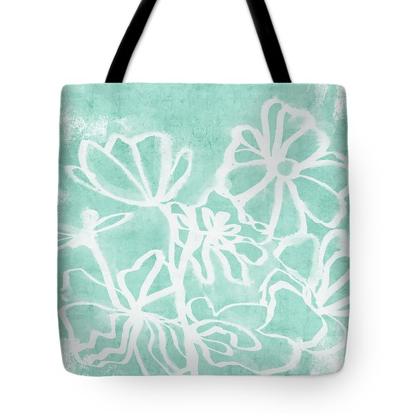Tote Bag featuring the mixed media Beachglass And White Flowers 2- Art By Linda Woods by Linda Woods