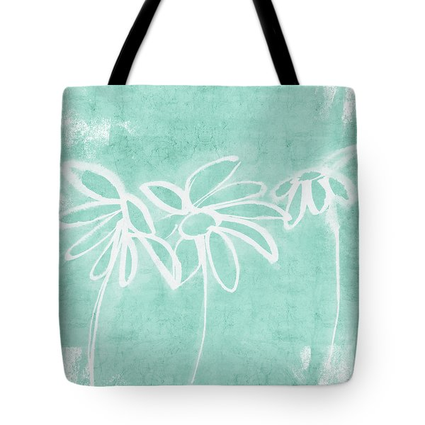 Tote Bag featuring the mixed media Beachglass And White Flowers 3- Art By Linda Woods by Linda Woods
