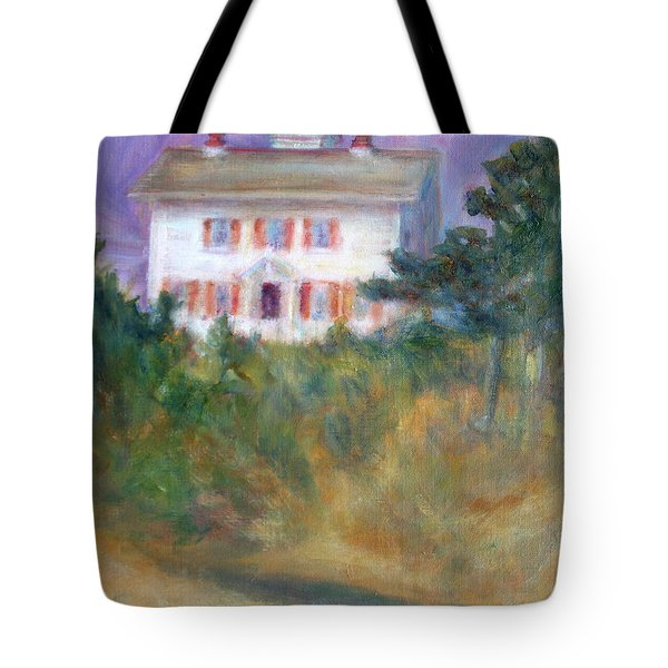 Beacon On The Hill - Lighthouse Painting Tote Bag by Quin Sweetman