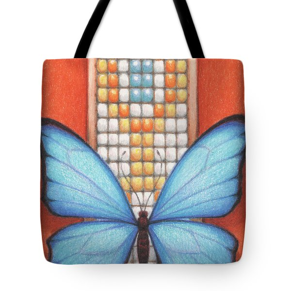 Beaded Morpho Tote Bag by Amy S Turner