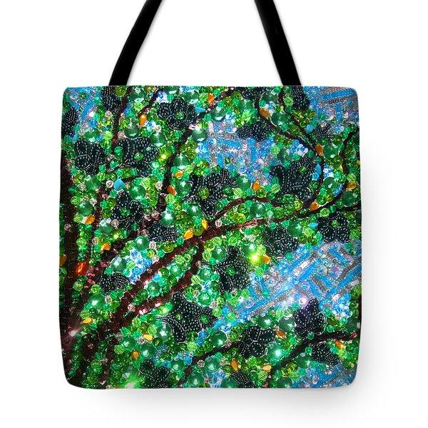 Beadwork, Bead Embroidery. Tree And Sky Tote Bag
