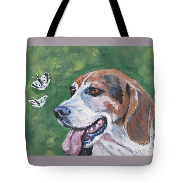 Tote Bag featuring the painting Beagle And Butterflies by Lee Ann Shepard