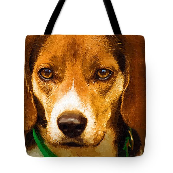 Beagle Hound Dog In Oil Tote Bag by Kathy Clark