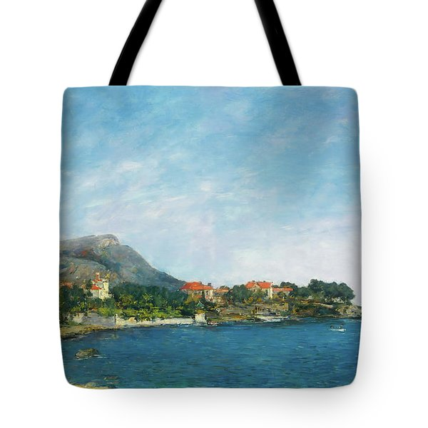 Tote Bag featuring the painting Bealieu - The Bay Of Fourmis by Eugene Boudin