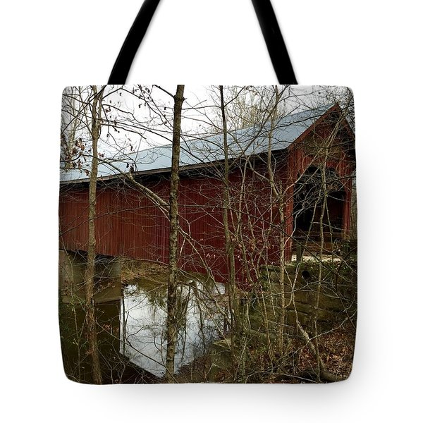 Bean Blossom Bridge Tote Bag by Russell Keating