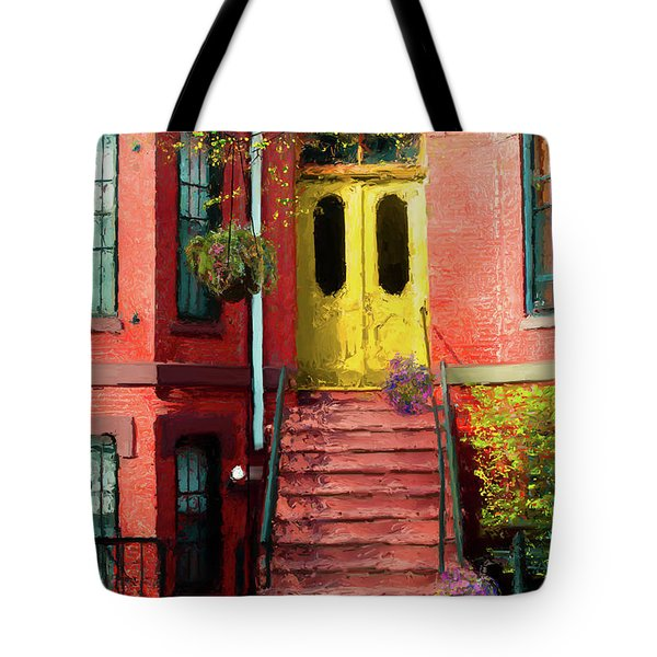 Beantown Brownstone With Yellow Doors Tote Bag