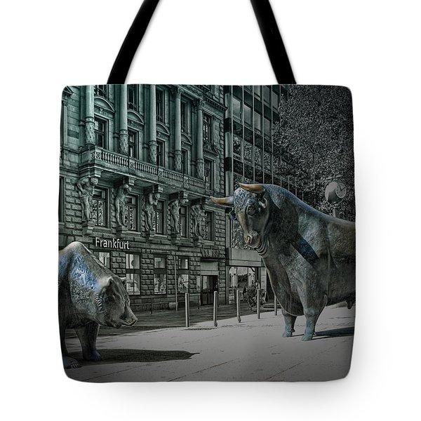 bear and bull Frankfurt Tote Bag by Joachim G Pinkawa