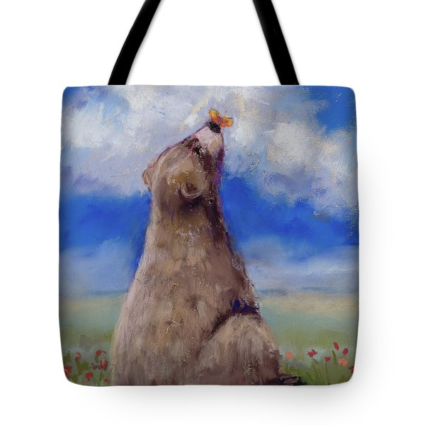 Tote Bag featuring the pastel Bear And Butterfly by Billie Colson