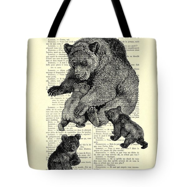 Bear And Cubs Black And White Antique Illustration Tote Bag