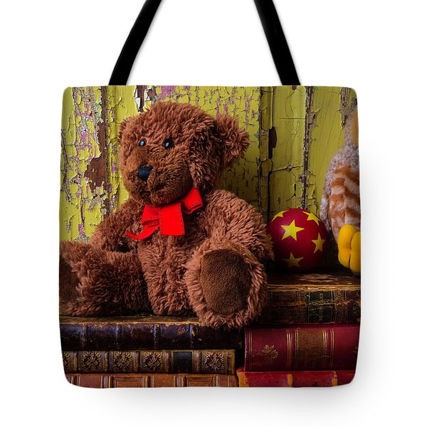 Bear And Owl On Old Books Tote Bag