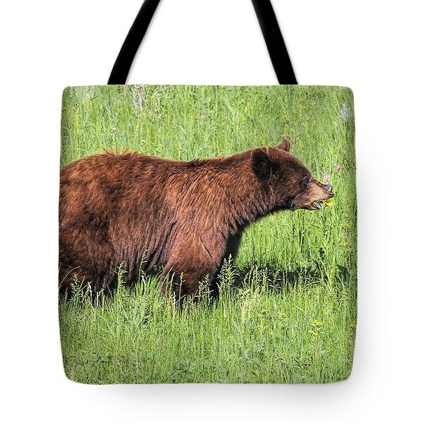 Bear Eating Daisies Tote Bag