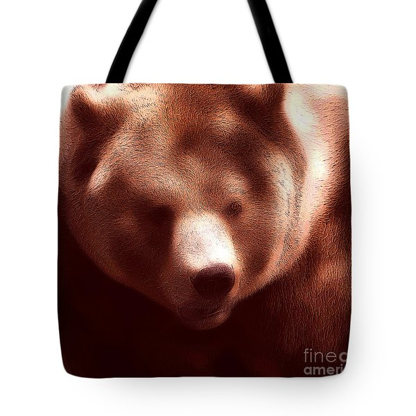 Bear Face Tote Bag Tote Bag by John Rizzuto